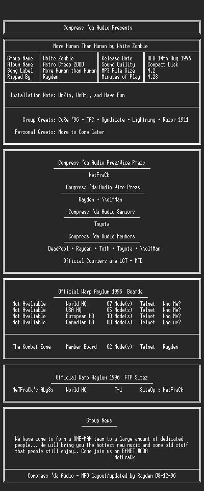 MP3 Scene — Information about Compress 'Da Audio (CDA)