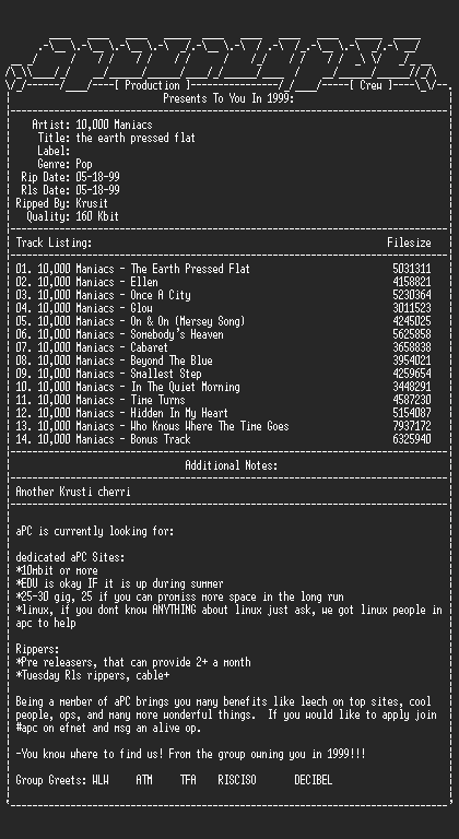 NFO file for 10000_Maniacs-The_Earth_Pressed_Flat-1999-aPC