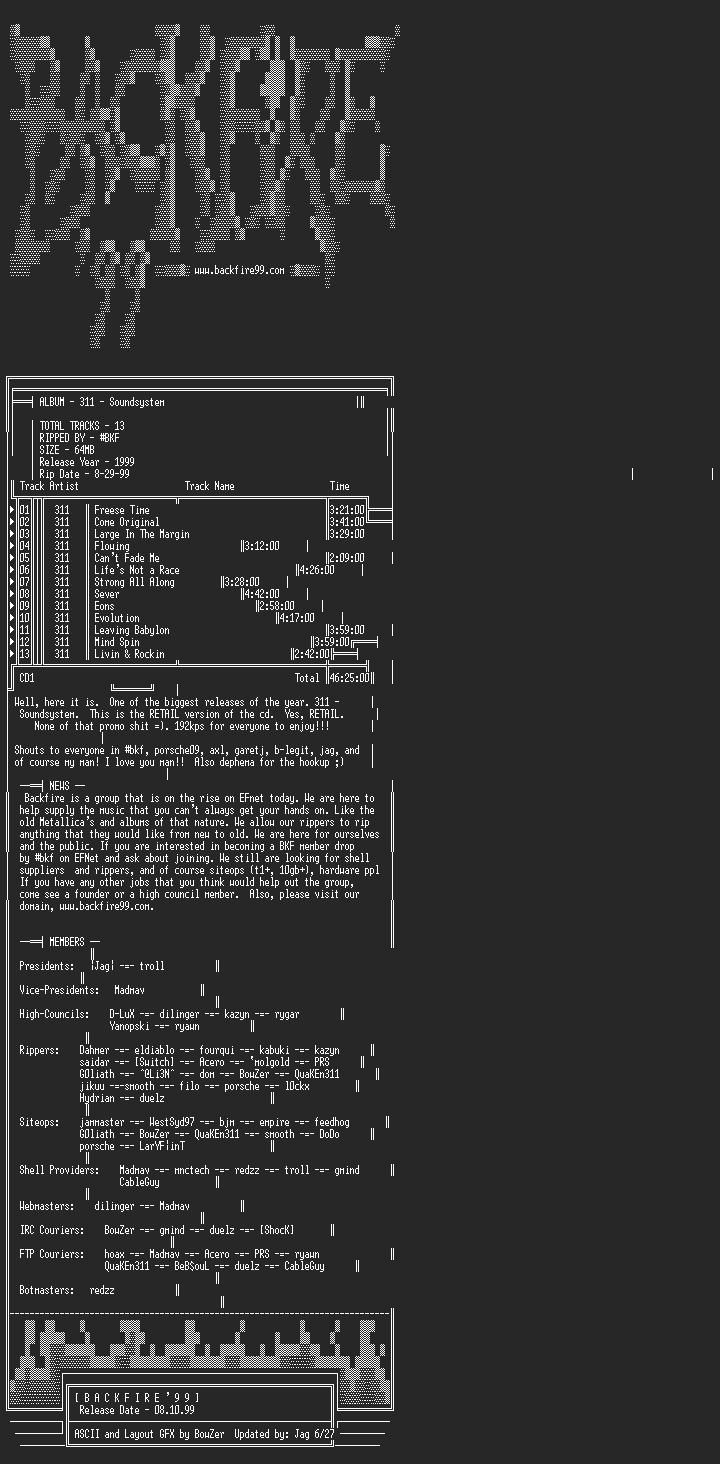 NFO file for 311_-_Soundsystem-1999-BKF