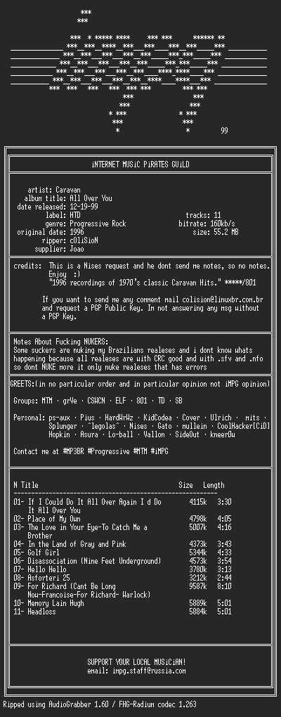 NFO file for Caravan--All.Over.You-(1996)-iMPG