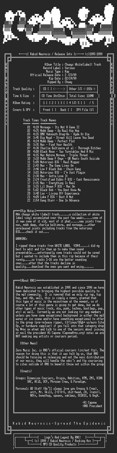 NFO file for VA-Chuwys_White(Label)_Trash-1999-RNS