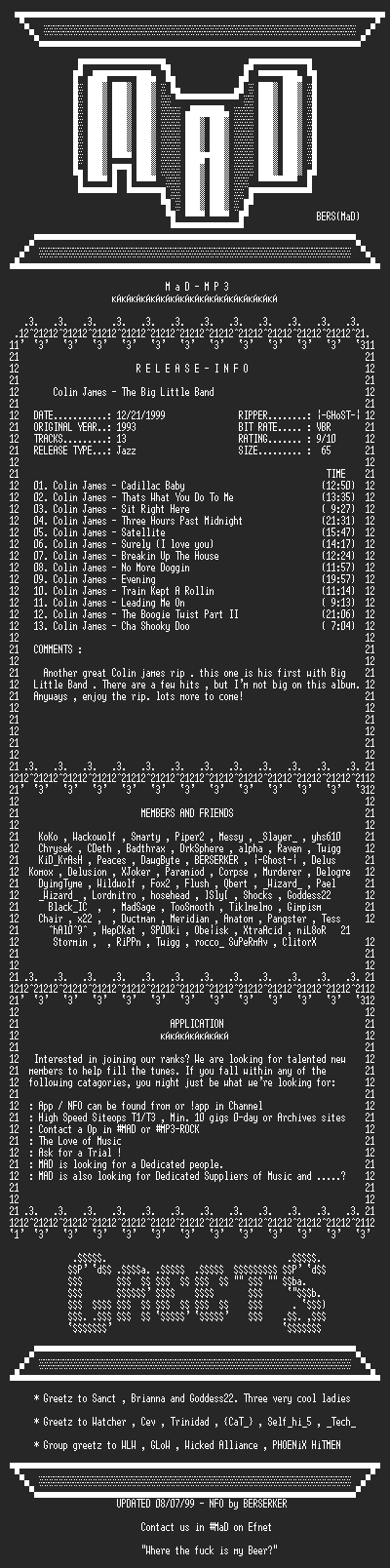 NFO file for Colin_James_-_The_Big_Little_Band_(1993)-MAD