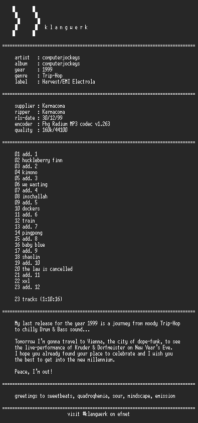 NFO file for Computer_jockeys--computer_jockeys-1999-kW