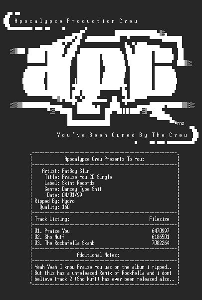 NFO file for Fatboy_slim-praise_you-cd_single-hydro-apc