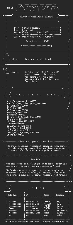 NFO file for Forbidden_Paradise_7_-_Deep_Forest-CCMP3D