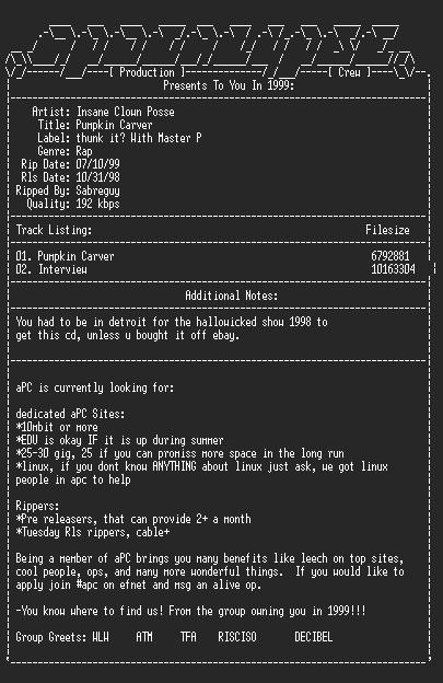 NFO file for Insane_clown_posse-pumpkin_carver-1998-apc