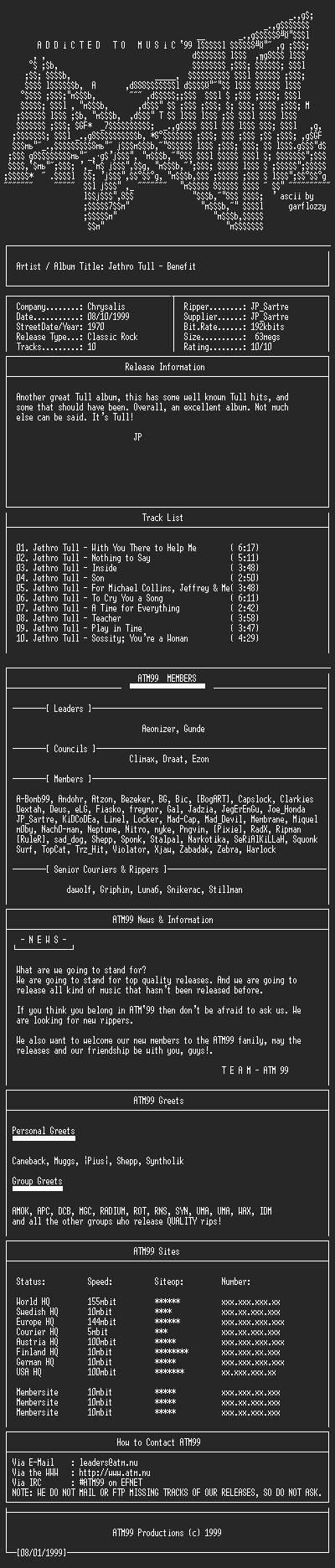 NFO file for Jethro_Tull_-_Benefit_-_(1970)-ATM99