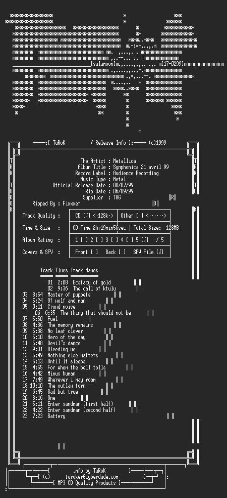 NFO file for Metallica_-_Symphonica_April_29-1999-TRK