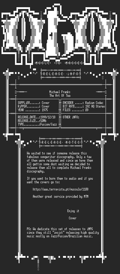 NFO file for Michael_Franks_-_The_Art_Of_Tea_(1975)_-_MTM