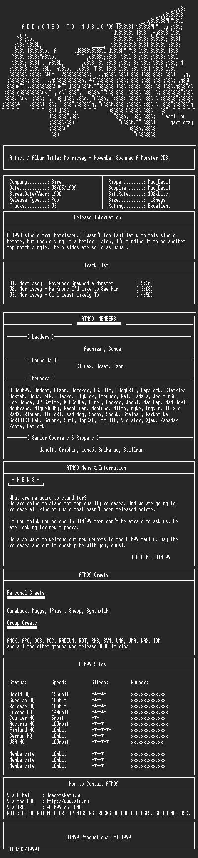 NFO file for Morrissey_-_November_Spawned_A_Monster_EP_-_(1990)-ATM99