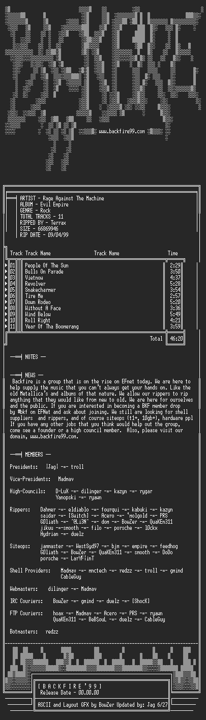 NFO file for Rage_Against_the_Machine-Evil_Empire-1996-BKF