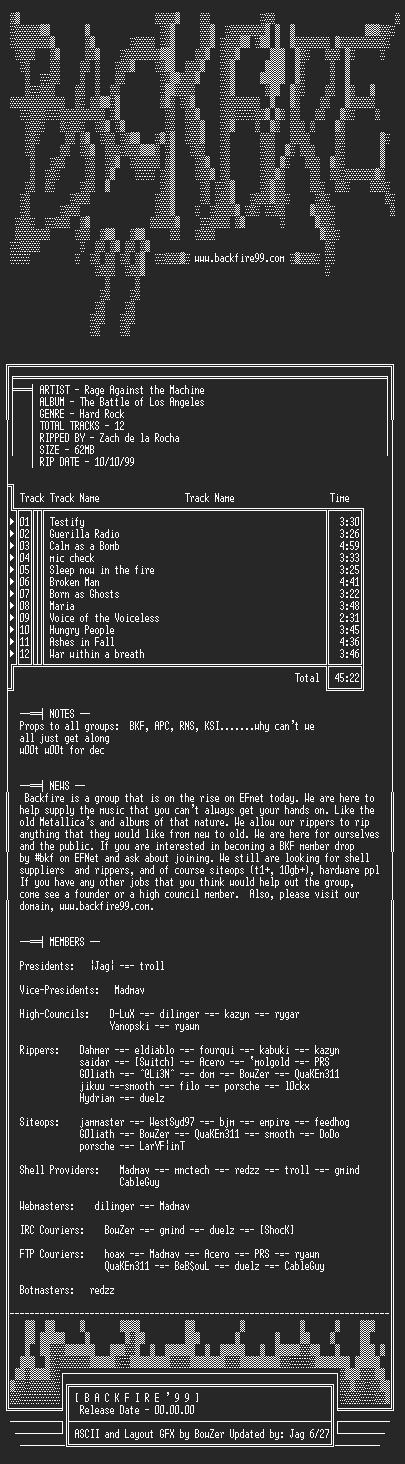 NFO file for Rage_Against_the_Machine_-_The_Battle_of_Los_Angeles-1999-BKF