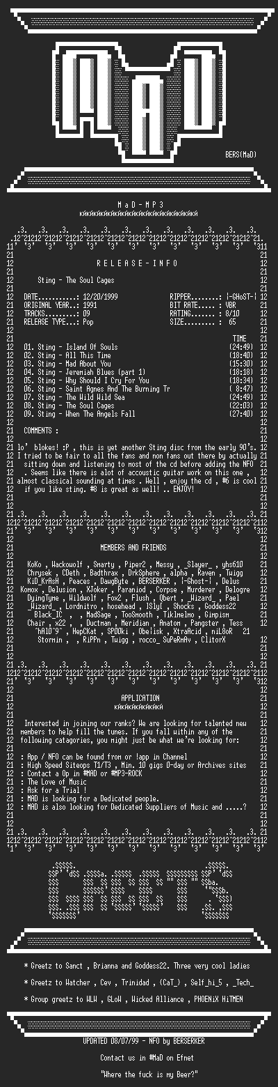 NFO file for Sting_-_The_Soul_Cages_(1991)-MAD