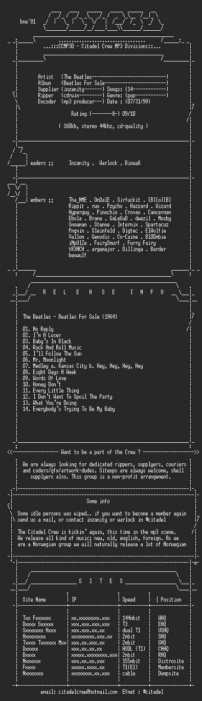 NFO file for The_Beatles_-_Beatles_For_Sale-1964-CCMP3D