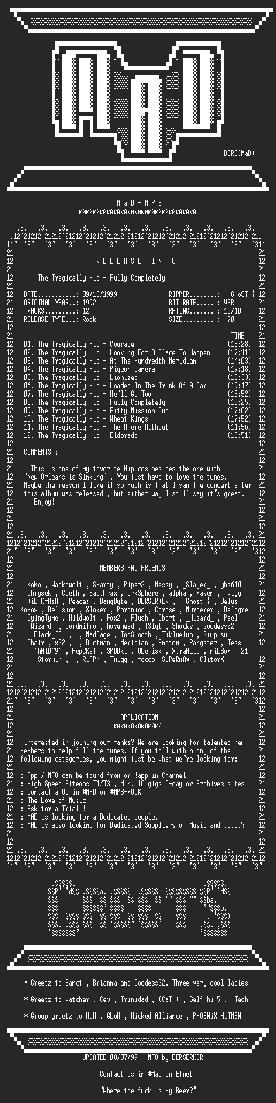 NFO file for The_Tragically_Hip_-_Fully_Completely_(1992)-MAD