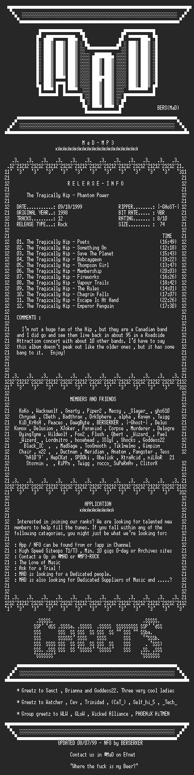 NFO file for The_Tragically_Hip_-_Phantom_Power_(1998)-MAD