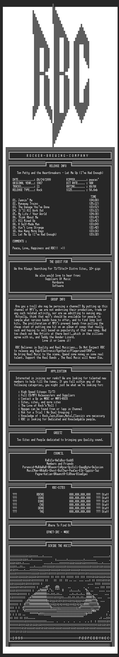 NFO file for Tom_Petty_-_Let_Me_Up_Ive_Had_Enough_(1987)_-_RBC-VBR