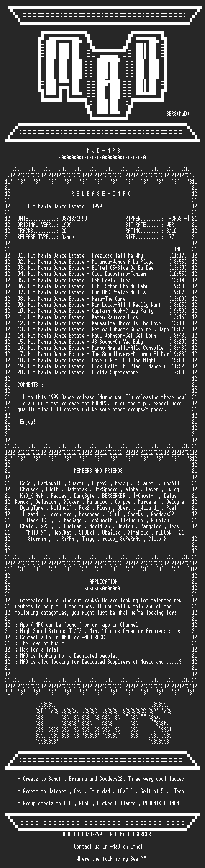 NFO file for VA-Hit_Mania_Dance_Estate_(1999)_-_MADMP3