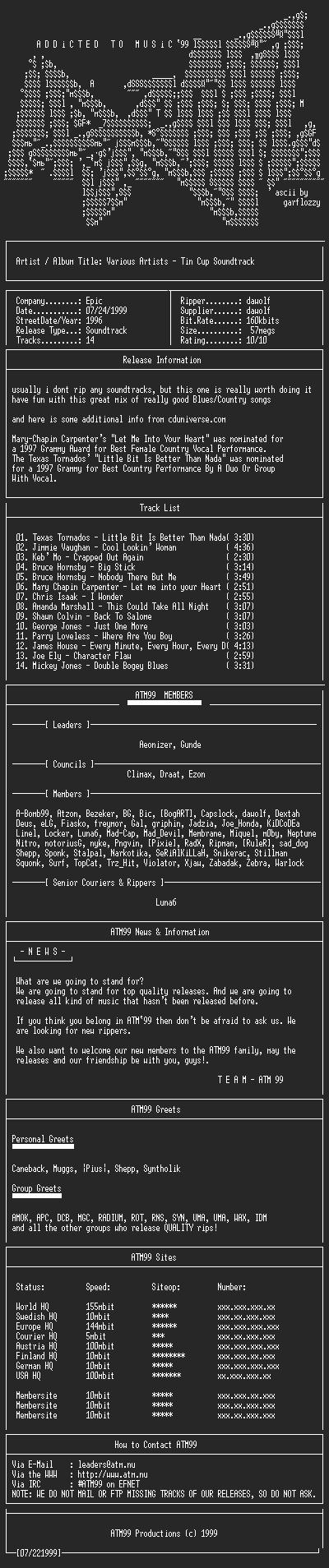NFO file for VA-Tin_Cup_-_Soundtrack_(1996)-ATM