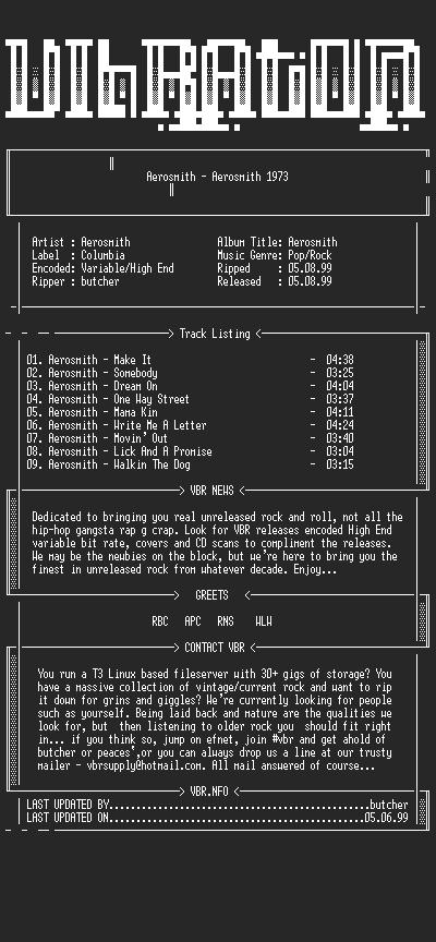 NFO file for Aerosmith-Aerosmith-1973-VBR