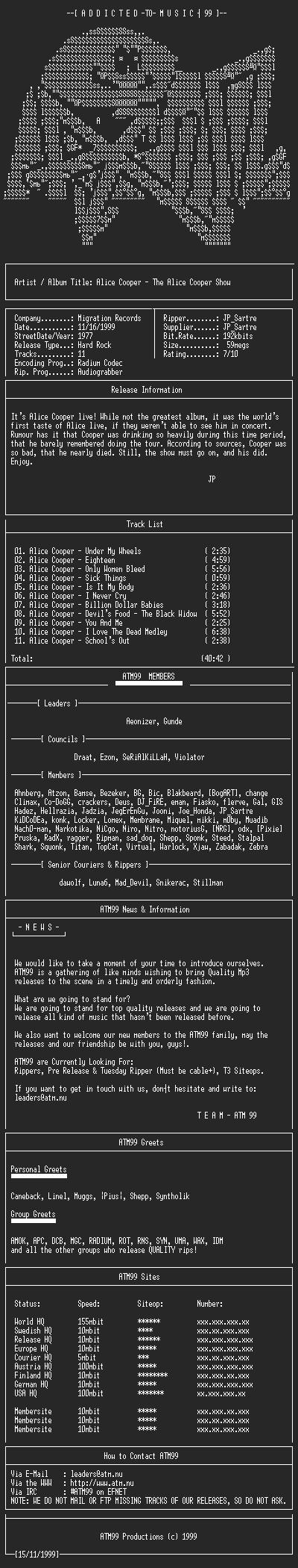 NFO file for Alice_Cooper_-_The_Alice_Cooper_Show_-_(1977)-ATM99