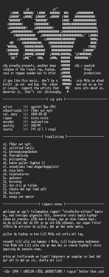 NFO file for Ayo_-_Foder_Nat_Nytt-1999-sSp