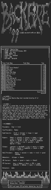 NFO file for Beastie_Boys-MTV_05-03-99_Glasgow_Secc-1999-BKF