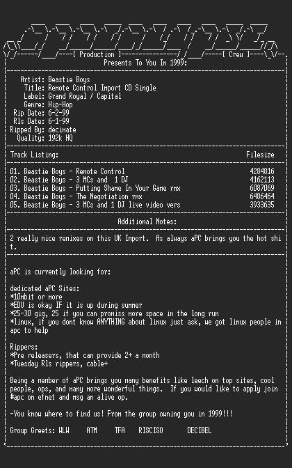 NFO file for Beastie_boys-remote_control_import_cd_single-1999-apc