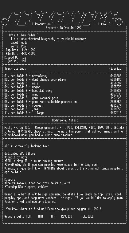NFO file for Ben_Folds_5-Unauthorized_Biography_Of_Reinhold_Messner-1999-aPC