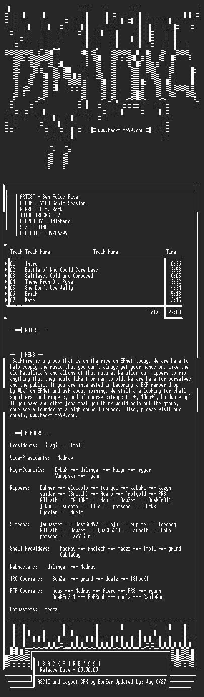 NFO file for Ben_Folds_Five-Y100_Sonic_Session-1998-BKF