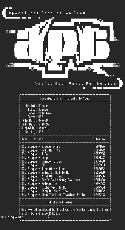 NFO file for Blaque-Blaque-1999-aPC