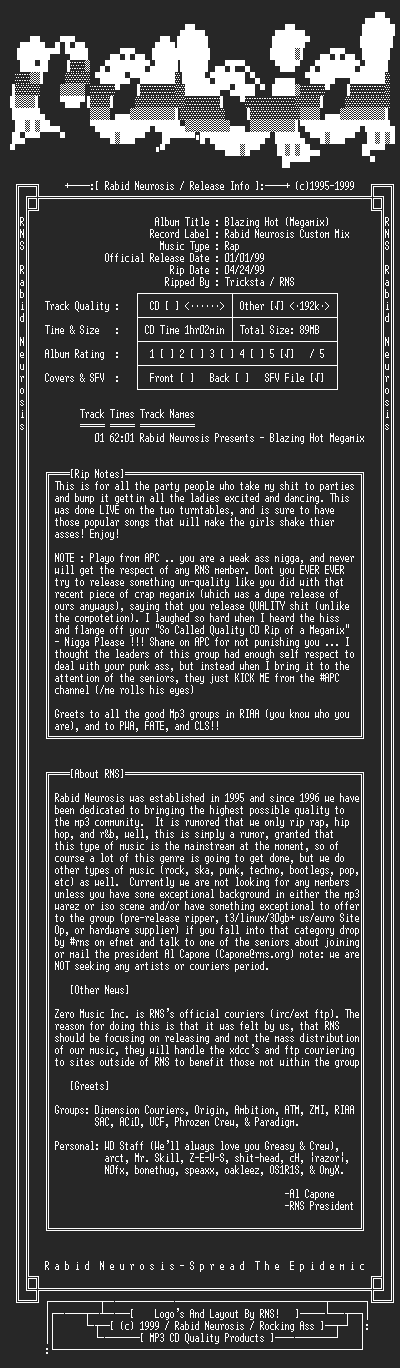 NFO file for VA-Blazing_Hot_(Megamix)-1999-RNS