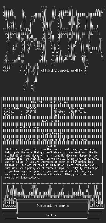 NFO file for Blink_182_-_Live_On_Jay_Leno_(10.15.99)-1999-BKF