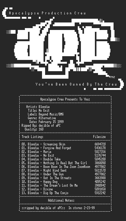 NFO file for Blondie-No_Exit-1999-decible-aPC