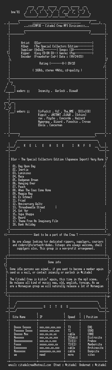 NFO file for Blur-The_Special_Collectors_Edition-(1994)-CCMP3D