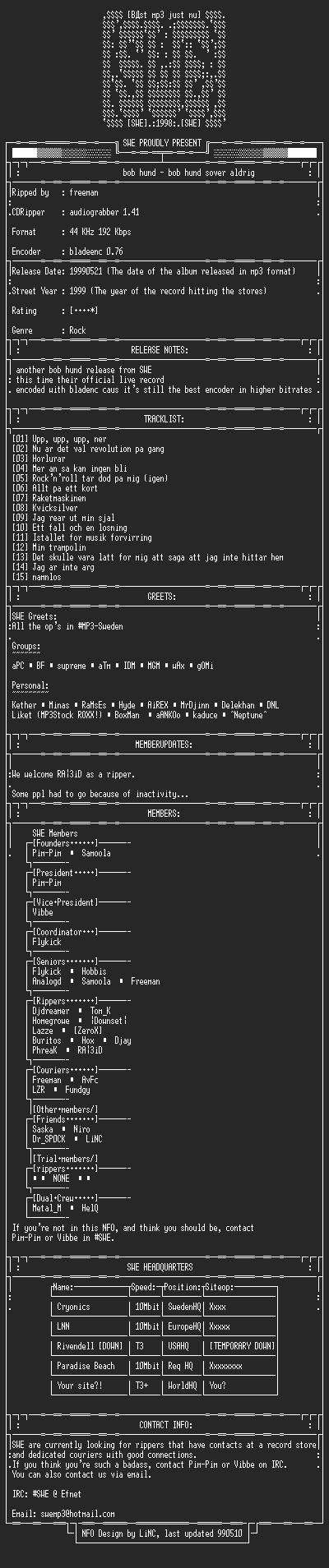 NFO file for Bob_Hund-Bob_Hund_Sover_Aldrig-(1999)-SWE