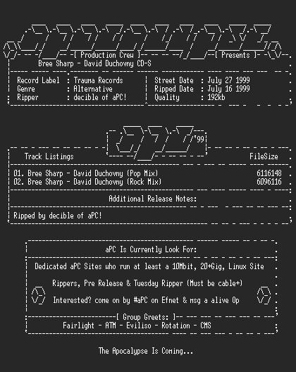NFO file for Bree_sharp-david_duchovny_cds-1999-apc