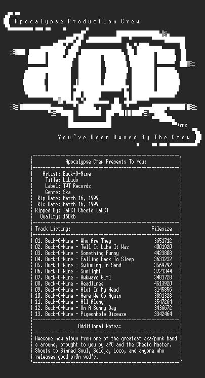 NFO file for Buck-O-Nine-Libido-1999-aPC