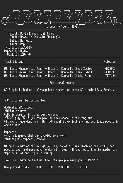 NFO file for Busta_Rhymes_Feat_Janet-Whats_It_Gonna_Be_CD_Single-1999-aPC