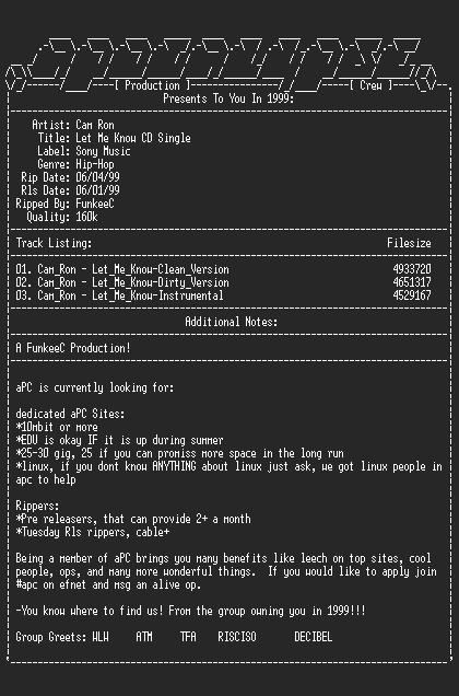 NFO file for Cam_ron-let_me_know_cd_single-1999-apc