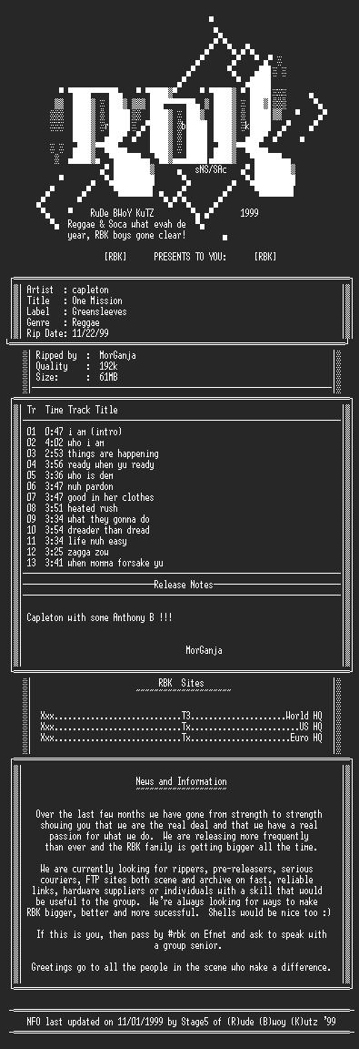 NFO file for Capleton-One_Mission-1999-rbk-MorGanja