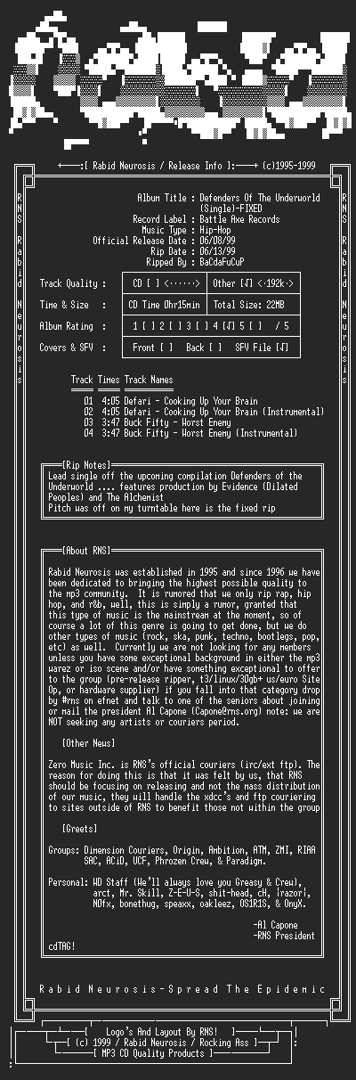 NFO file for Defenders_Of_The_Underworld_(Single)-Fixed-1999-RNS