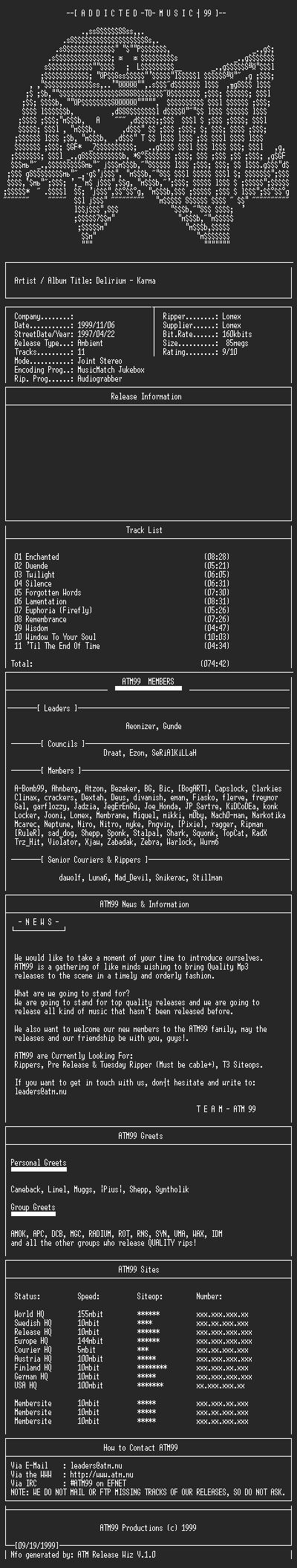 NFO file for Delirium_-_Karma_-_(1997)-ATM99