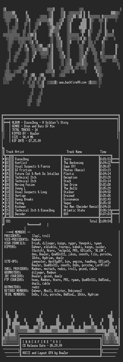 NFO file for Dieselboy_-_A_Soldiers_Story-1999-BKF