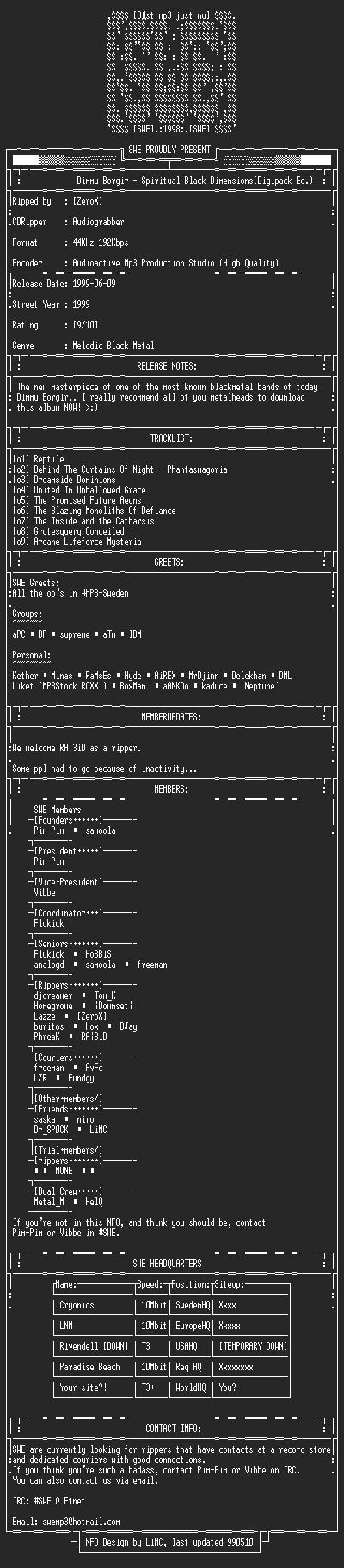 NFO file for Dimmu_Borgir_-_Spritual_Black_Dimensions-1999-SWE