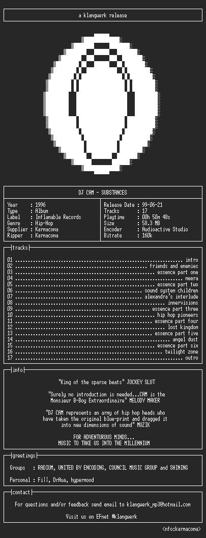 NFO file for dj.cam--substances-1996-kW