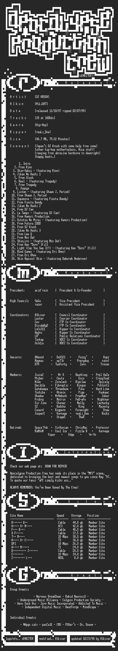 NFO file for DJ_Krush-Milight-1997-Reali_Doe-aPC