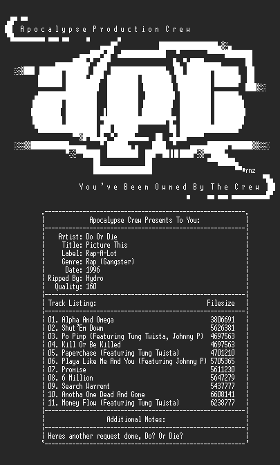 NFO file for Do_or_die-picture_this-1996-hydro-apc
