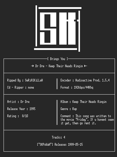 NFO file for Dr_Dre_-_Keep_Their_Heads_Ringin(Singel)(192KBps)-SKPoWaH