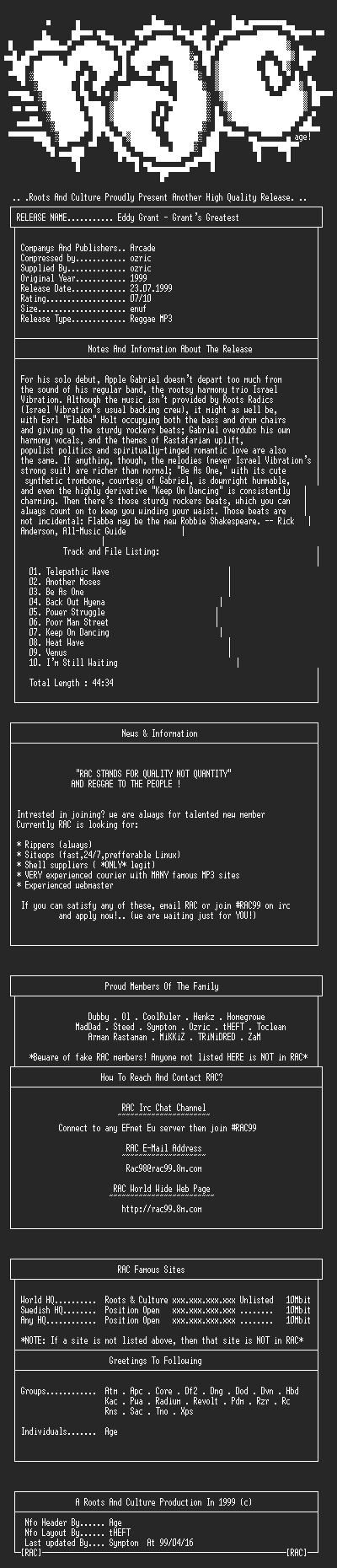 NFO file for Eddy_Grant-Grants_Greatest-(1999)-RAC99